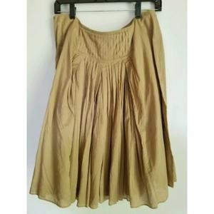 J CREW size 10 Tan pleated skirt knee length 100%